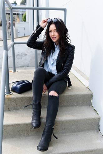the fancy pants report blogger shirt jeans jacket sunglasses shoes