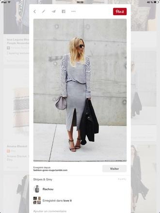 shirt grey skirt slit skirt