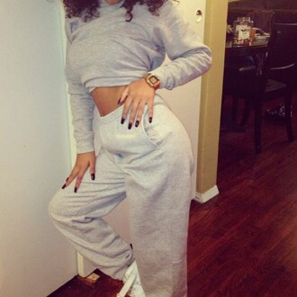sweater grey sweatsuit joggers outfit cropped sweater pants