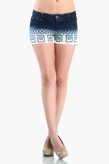 LoveMelrose.com From Harry & Molly | Aztec Print Denim Shorts