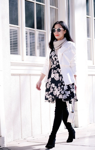 hallie daily blogger dress skirt sweater jacket sunglasses shoes bag