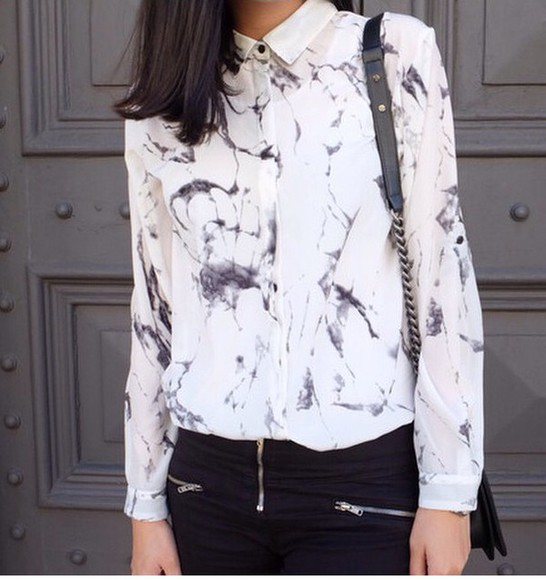 blouse button up blouse black and white marble pattern