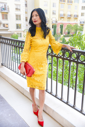 mamainheels blogger shoes dress bag fall outfits yellow dress lace dress red bag pumps high heel pumps red heels