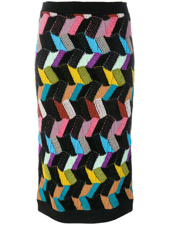 skirt women geometric black wool knit pattern