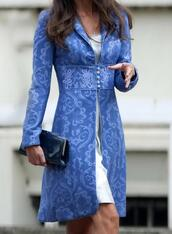 coat,blue,floral,lace,long coat,celebrity