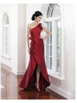 Buy Lovely Red One-shoulder Bowknot Satin Evening Dress under 200-SinoAnt.com