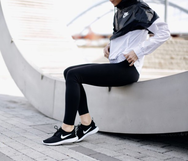 tumblr sneakers nike nike shoes nike roshe run nike jacket sportswear  sports jacket sports shoes black
