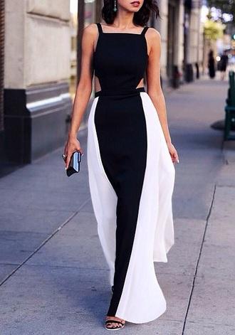dress black and white dress cut-out dress maxi dress