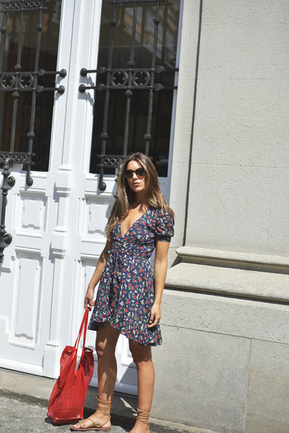dress tumblr wrap dress floral floral dress mini dress bag red bag sunglasses