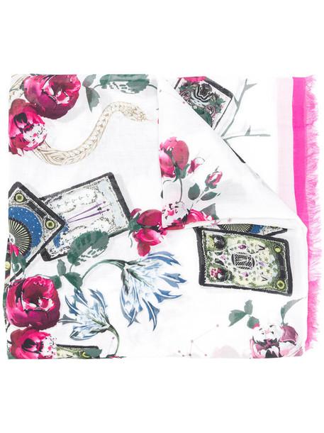 Roberto Cavalli women scarf floral white print