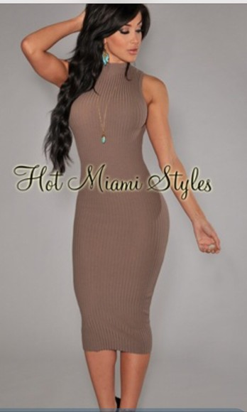 dress taupe Miami turtleneck dress bodycon dress stretch sexy sophisticated elegant dress modest dress