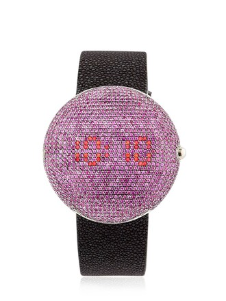 watch pink black red jewels