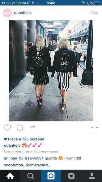 jacket best friend shirts black jacket black friends love heart friendship