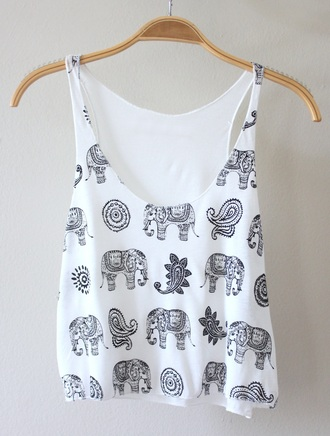 top white black tank top summer boho flowers crop tops white top white t-shirt elephant t-shirt print printed top summer top boho shirt shirt casual