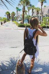 bag,summer,longboard,skateboard,blonde hair,backpack,black,leather,tumblr,indie,boho,bohemian,long hair,tan,penny board,summer outfits,school bag,Accessory,girl,shirt