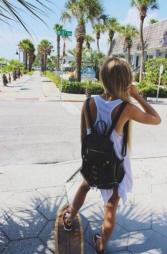 bag summer longboard skateboard blonde hair backpack black leather tumblr indie boho bohemian long hair tan penny board summer outfits backpack for school