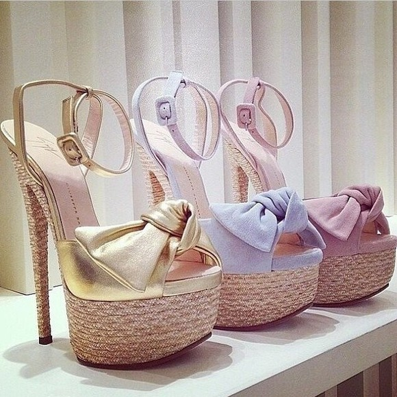 pink shoes blue summer outfits knot high heels gold sandals bows plateau pastel