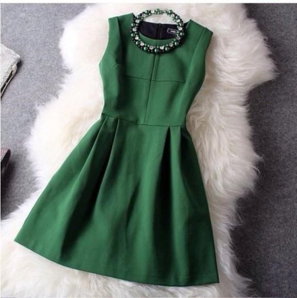 green jewels fashion green dress short dress dress formal dress necklace