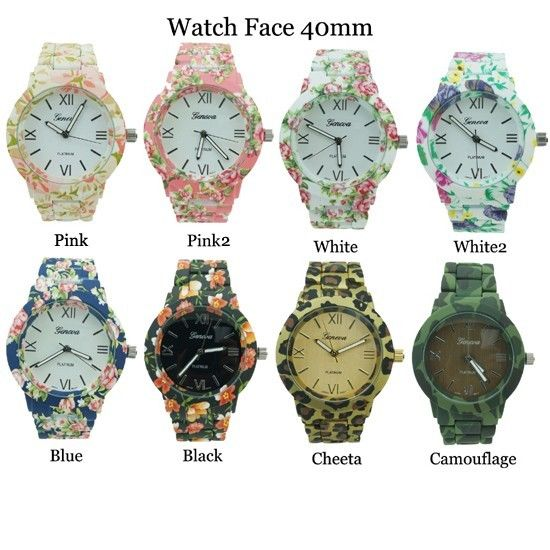 Floral Flower Geneva Ladies Rubberized Coated Round Link Fashion Watch 40mm | eBay