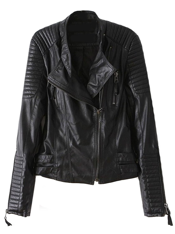 Sheinside Black Long Sleeve Zipper PU Leather Jacket at Amazon Women's Clothing store: