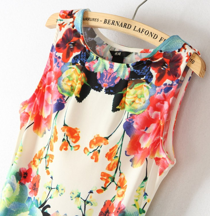 Fashion 2013 Elegant Women Lady  Printing Dresses Vintage Floral Summer Mini Sleeveless Dress 1pcs Plus size S M L-in Dresses from Apparel & Accessories on Aliexpress.com