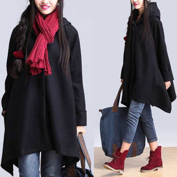 coat wool coat with cape black orange