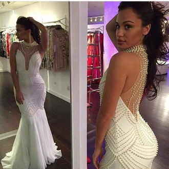 dress white dress white prom dress prom gown prom cute dress pearl necklace