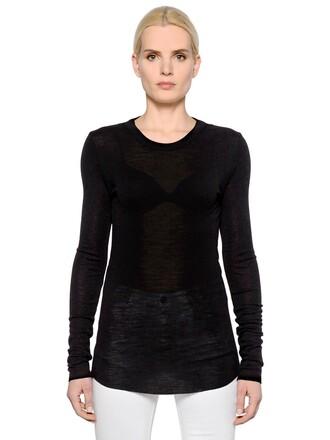 t-shirt shirt long wool black top