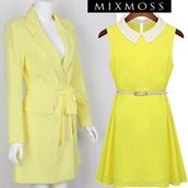 coat,mixmoss.com,yellow,blazer,clothes,dress,belt,long dress,fashion dress,chic dress