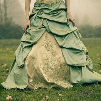 dress prom green poofy grass outside girl fairy tale