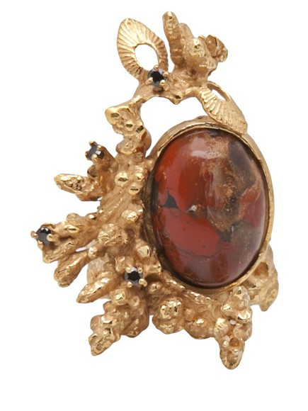 coral gold jewels yukie deuxpoints ring maroon