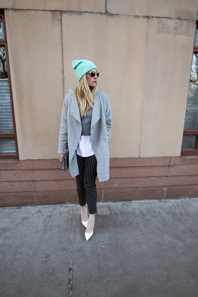 devon rachel blogger shirt striped pants grey coat top pants coat shoes bag hat sunglasses