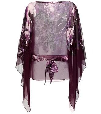 blouse silk purple top