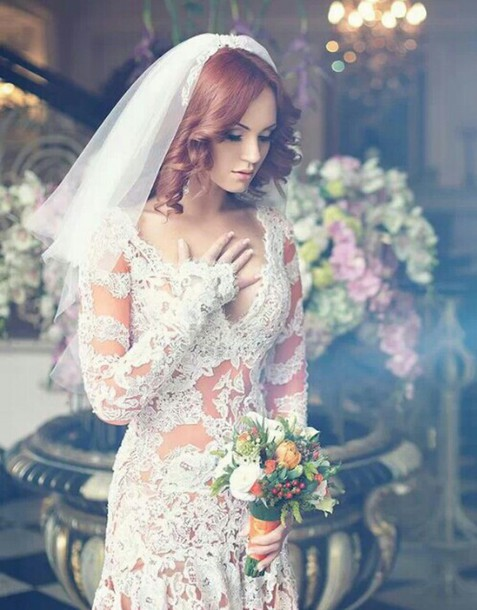 dress wedding dress lace dress see through dress