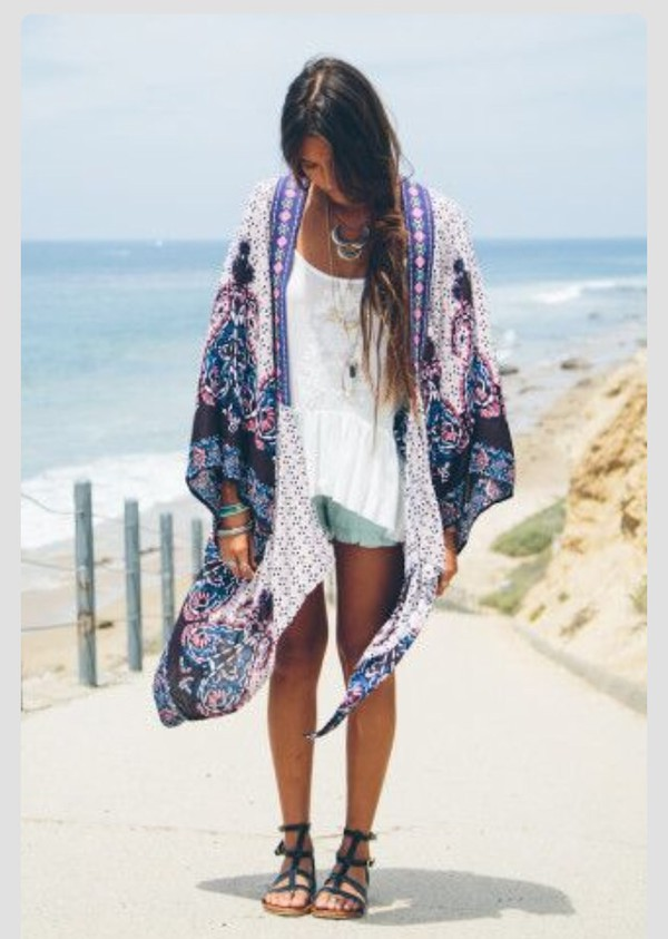 Top kimono boho boho chic style fashion cardigan hippie hippie chic summer outfits ...
