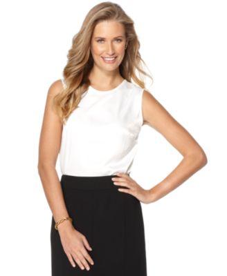 Jones New York Top Sleeveless Silk-Blend Tank Top - Tops - Women - Macy's