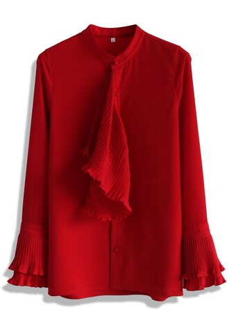 top frills in elegance red top chicwish red ruffle