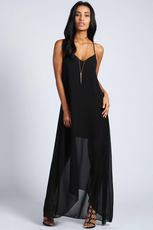 Ella Strap Detail Dress With Dip Hem Maxi