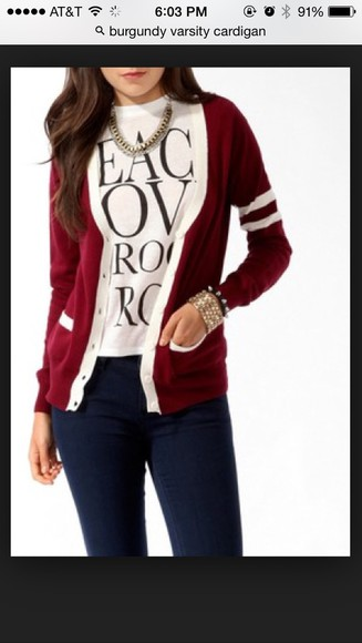 burgundy sweater cardigan varsity sweater