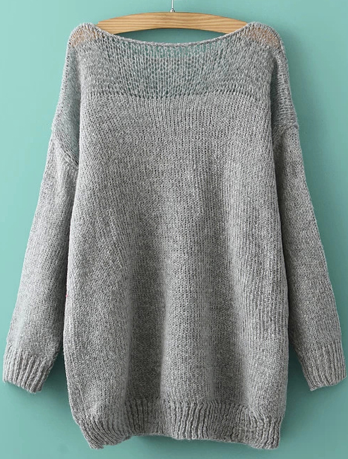 Boat neck loose knit sweater