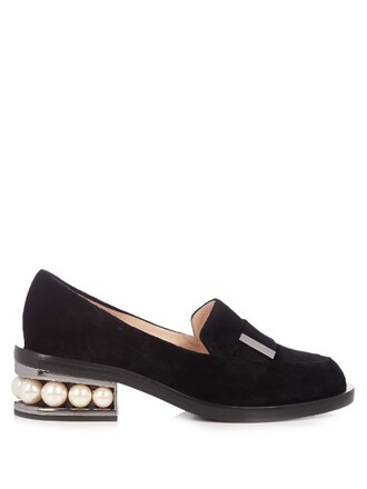 pearl loafers velvet black shoes