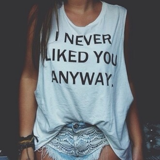 blouse quote on it white t-shirt tank top cute swag hipster hm h&m shorts white tank top black letters grey t-shirt top