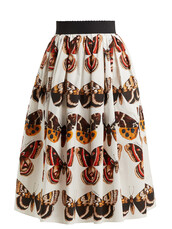 skirt,butterfly,cotton,print,white,brown
