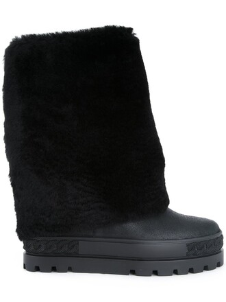fur faux fur boots black shoes