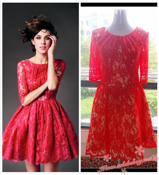 Cheap prom dress: Alexa Chung little red lace Erdem dress FOR SALE ...