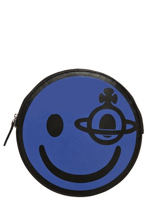 bag pouch leather blue black
