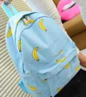 bag,light blue,bananas,backpack