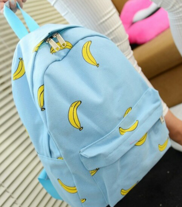bag light blue bananas backpack