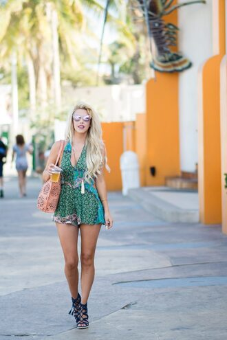 fashion addict blogger romper shoes bag jewels green v neck summer outfits pink sunglasses pink bag black heels lace up heels floral romper