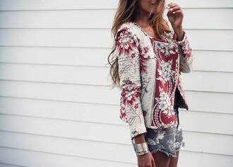 jacket clothes spring jacket cardigan trench coat coat flowers hippie blouse veste fleurie fashion red white vintage summer jacket floral jacket vintage jacket boho boho jacket red and white